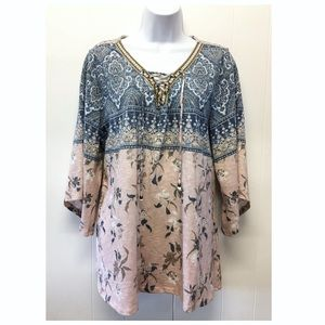 Style & Co | Bohemian Bell Sleeved Lace Up Tunic